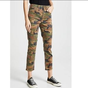 Madewell Camo Cottontail High Rise Slim Boy Jeans